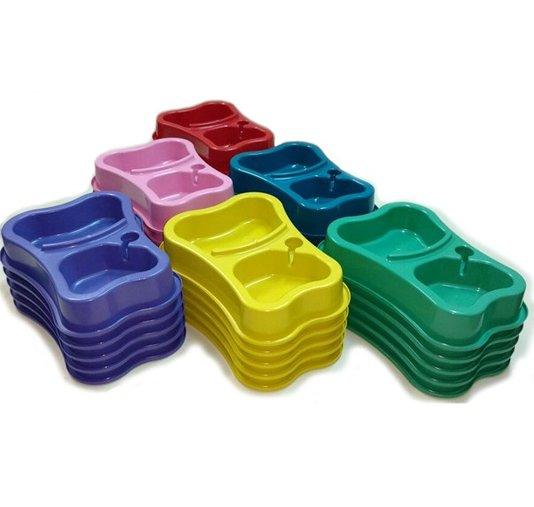 Comedouro Bebedouro Plástico Duplo Cães Gatos 10 unidades