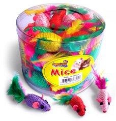 Brinquedo Gatos Mini Ratinho c/ Penas Pote 36 un