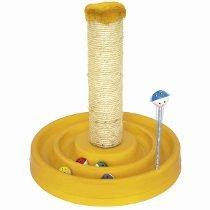 Brinquedo Interativo Arranhador Bolinhas Guizo Gatos Amarelo