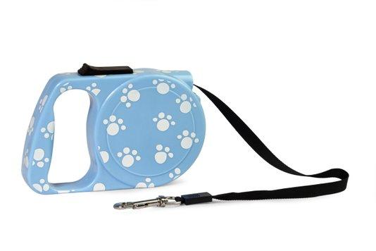 Guia Retrátil Patinha Cães até 10 kg Azul Savana Pet/Dog 124