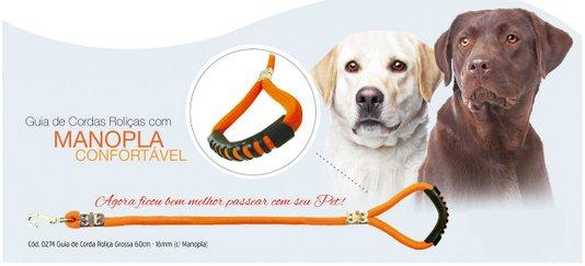 Guia Cães Corda Roliça Grossa 60 cm - 16 mm com Manopla