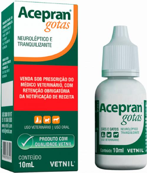 Acepran Acepromazina Gotas Sedativo Anestésico Cães Gatos 10 ml
