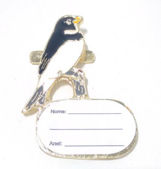 Placa de Metal para Identificação de Pássaros - Coleiro