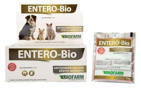 Entero-Bio Antidiarreico Cães Gatos Biofarm - Display 25 sachês 15 g