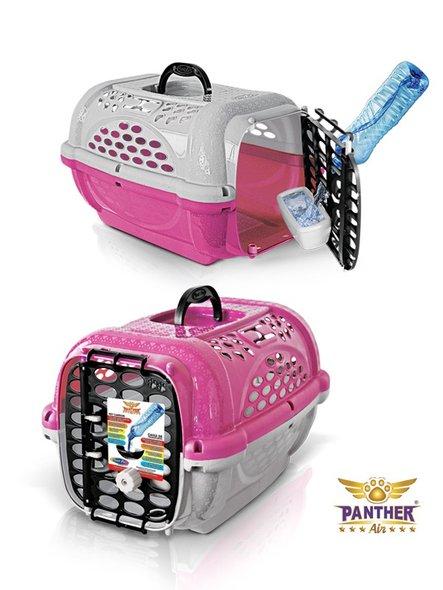 Caixa Transporte Cães Gatos Panther n. 1 Rosa Plast Pet