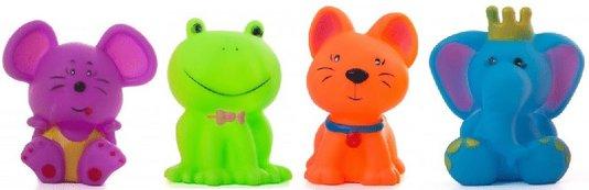 Kit 4 Brinquedos Cães Mordedor Apito Borracha Animais