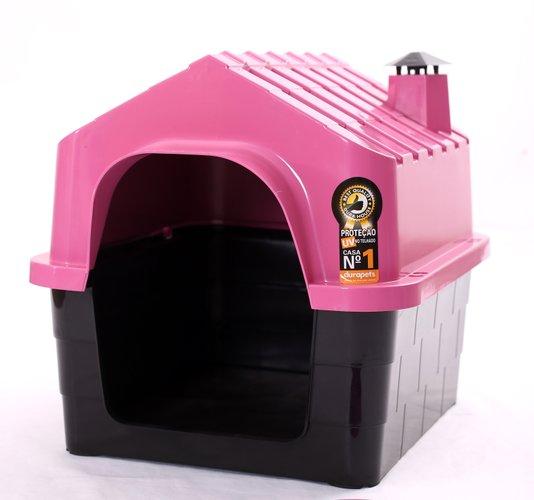 Cama Toca Casa Plástica Cães Durapets N2 Rosa