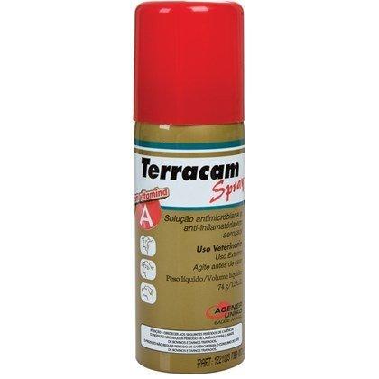 Terracam Spray Antibiótico Anti-inflamatório Cães Gatos 125 ml