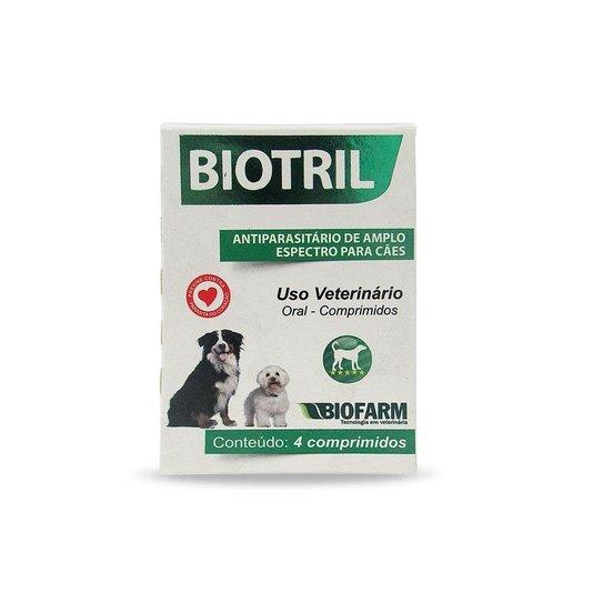 Biotril Antiparasitário Amplo Espectro Cães BioFarm  4 comp