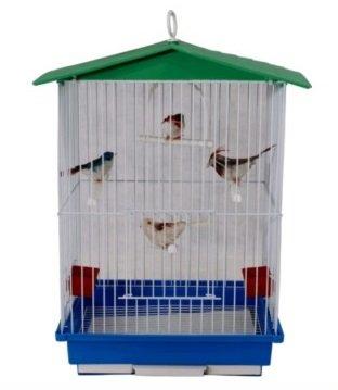 Gaiola Pássaros Periquito Canário Teto Bandeja Plástica 30x23x44 cm