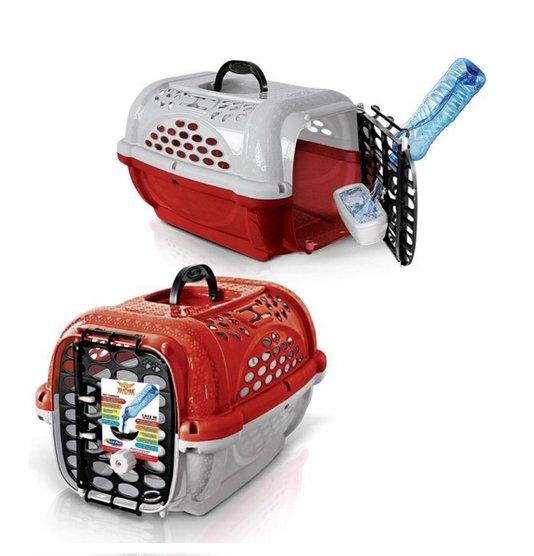 Caixa Transporte Cães Gatos Panther n. 2 Vermelha Plast Pet