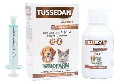 Tussedan Xarope Tose cães gatos Expectorante 6 frascos 100 ml