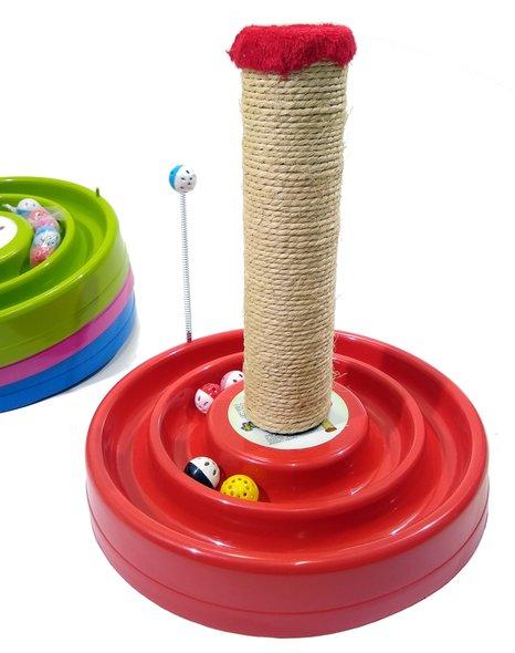 Brinquedo Interativo Arranhador Bolinhas Guizo Gatos Vermelho