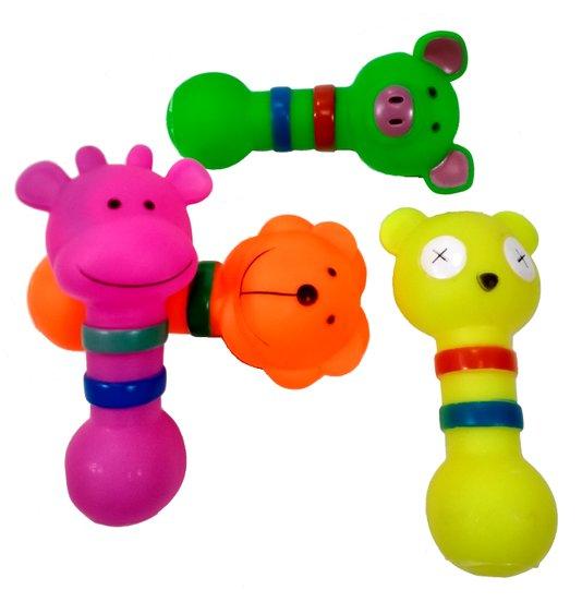 Brinquedo Cães Mordedor Apito Borracha Animais Zoo 4 un