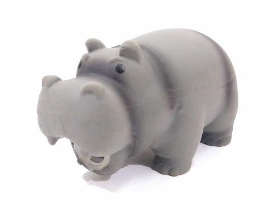 Brinquedo Cães Mordedor Borracha Hipopótamo Sonoro 15 cm