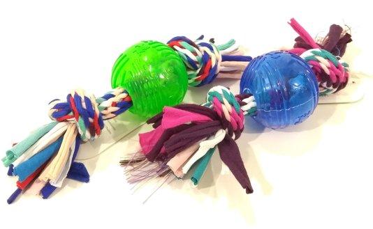 Brinquedo Cães Mordedor Corda Bola Borracha Translucida J0971