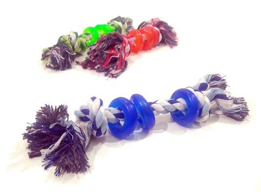 Brinquedo Cães Mordedor com Corda e Três Argolas Borracha