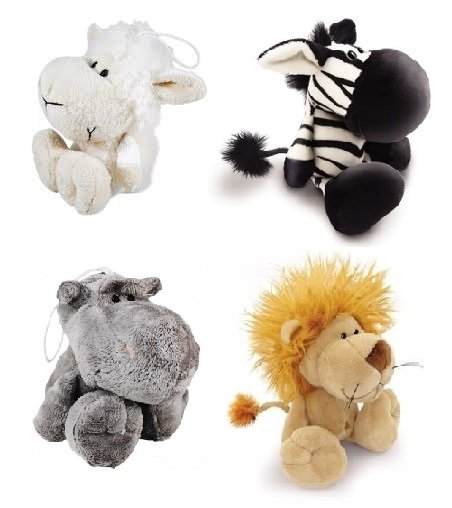 Kit 4 Brinquedo Cães Mordedor Pelúcia Apito Ovelha Leão Hipo Zebra