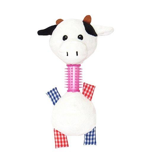 Brinquedo Cães Mordedor Pelúcia Vaca com Som 24 cm