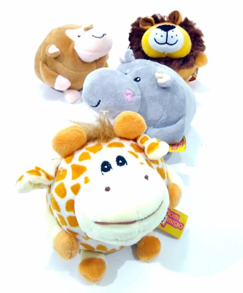 Brinquedo Cães Pelúcia Apito Zoo Animais Fofinhos Apito 4 unidades