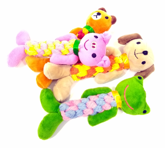 Brinquedo Cães Pelúcia Trança Corda 4 Animais 18 cm
