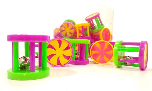 Brinquedo Gatos Cilindro Carrossel Colorido Guizo Pote 36 un