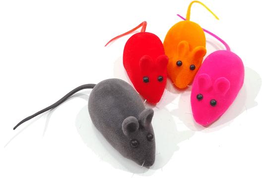 Brinquedo Gatos Ratinho Vinil Colorido 6 cm Apito Cartela 4 un