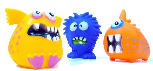 Brinquedo Latex Mordedor Cães Apito Mega Monsters 3 unidades