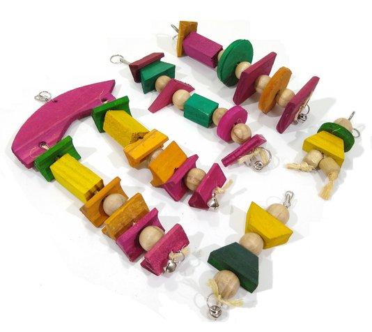 Brinquedo Pássaros Madeira Calopsita Papagaio Kit 5 unidades