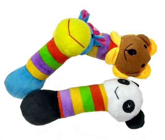 Brinquedo Pelúcia Cães Mordedor Apito Kit 3 unidades 21 cm