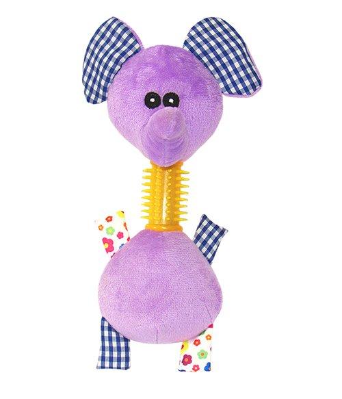Brinquedo Pelúcia Cães Mordedor Elefante c/ Som 24 cm