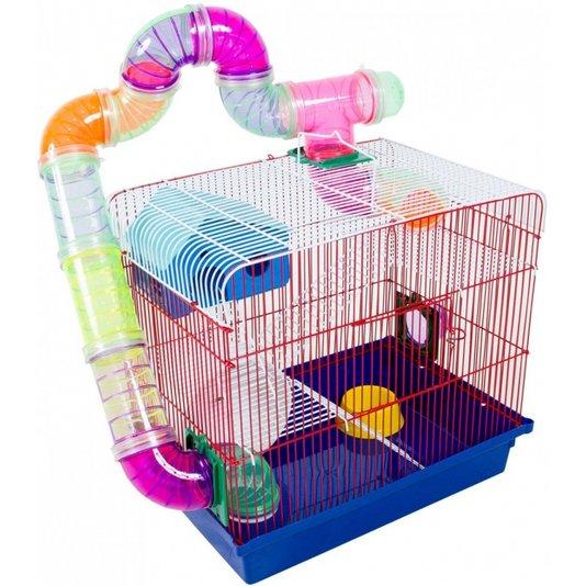 Gaiola Hamster Tubos 3 Andares Luxo Jel Plast