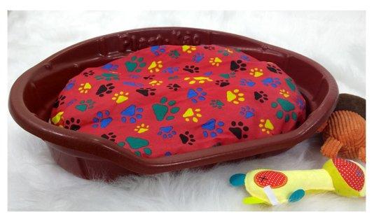Cama Caminha Plástica Oval Cães e Gatos Plast kão N. 1 Vermelha