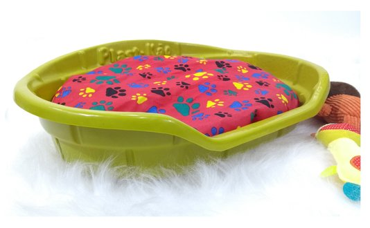 Cama Caminha Plástica Oval Cães e Gatos Plast kão N. 2 Amarela