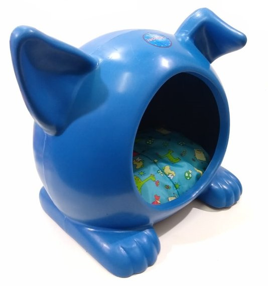 Cama Toca Casa Plástica Cães Ideal Dog G Azul