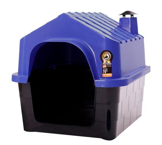 Cama Toca Casa Plástica Cães Durapets N2 Azul