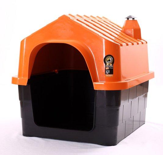 Cama Toca Casa Plástica Cães Durapets N1 Laranja