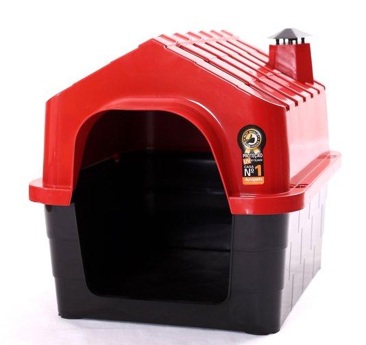Cama Toca Casa Plástica Cães Durapets N1 Vermelha