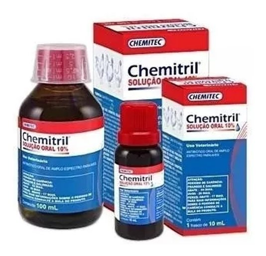 Chemitril Solução Oral 10% Enrofloxacino - 10 ml