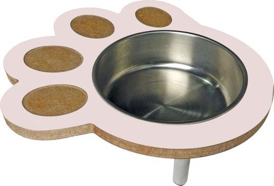 Comedouro Bebedouro MDF Pote Inox Cães Formato Pata 1 litro