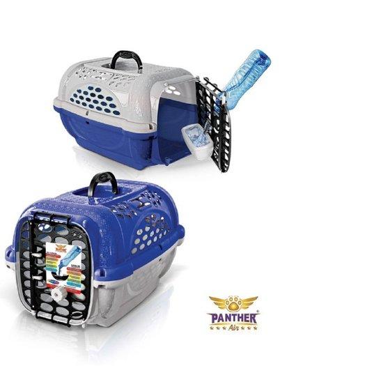 Caixa Transporte Cães Gatos Panther n. 2 Azul Plast Pet