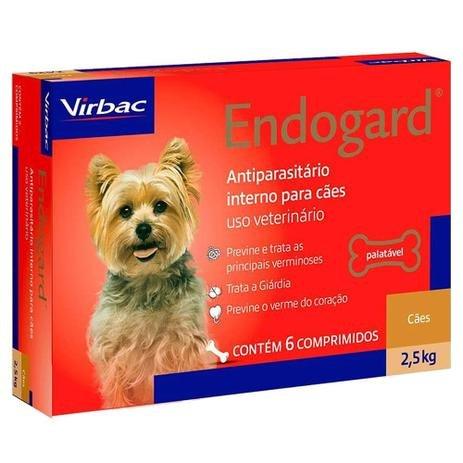 Endogard 2,5 kg Virbac Antiparasitário Interno 6 comprimidos