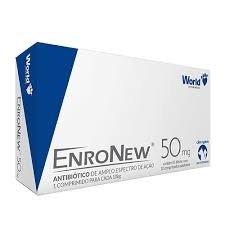 Enronew 50 mg  Antibiótico Enrofloxacina Cães Gatos Caixa 10 comprimidos