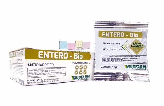 Entero-Bio Antidiarreico Cães Gatos Biofarm - Display 10 sachês 15 g