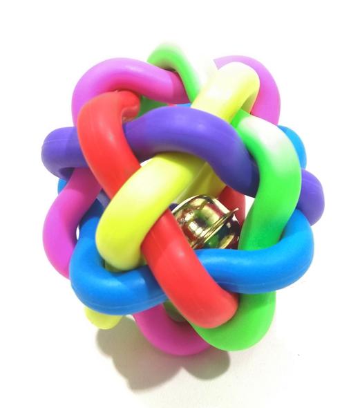Brinquedo Gatos Cães Bola Trançada Colorida Guizo 6 cm