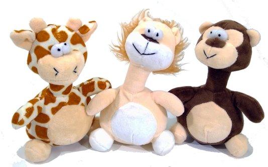 Kit 3 Brinquedos Cães Pelúcia Apito África Maluquinhos