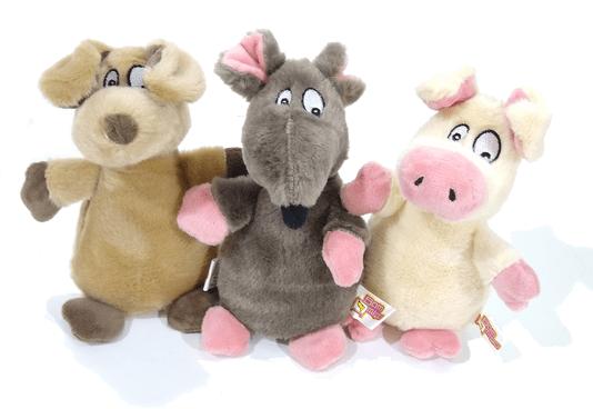 Kit 3 Brinquedos Cães Pelúcia Apito Animais da Floresta
