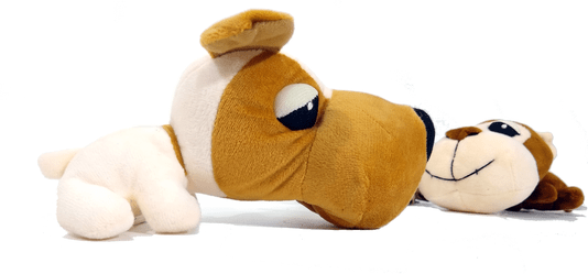 Kit 3  Brinquedos Cães Pelúcia Apito Animais Fofinhos Cabeçudos