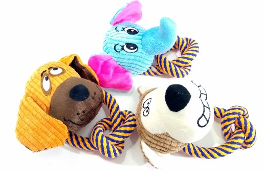 Kit 3 Brinquedos Cães Pelúcia Mordedor Animais Corda