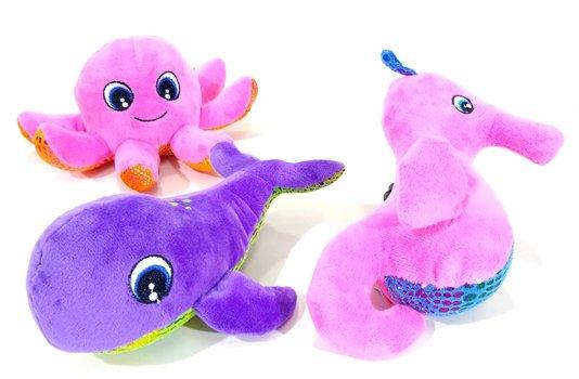 Kit 3 Brinquedos Cães Pelúcia Oceano Fundo do Mar Sea World